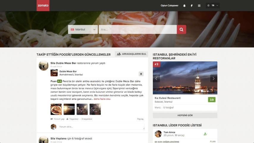Zomato Website FoodieFeed Screenshot Small    Merhaba Zomato diyoruz!