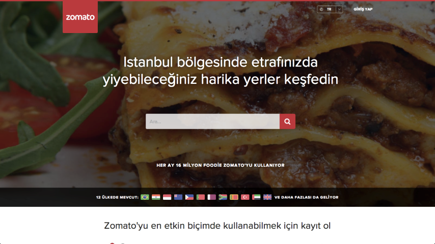 Zomato Website Home Page Screenshot Small    Merhaba Zomato diyoruz!